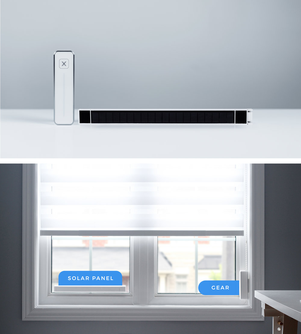 Solar Powered.For your convenience - Gear's internal battery is continuously recharged via a slim solar panel that fits discreetly on your window. Inside the solar panel are 12 AA batteries that will act as backup power.