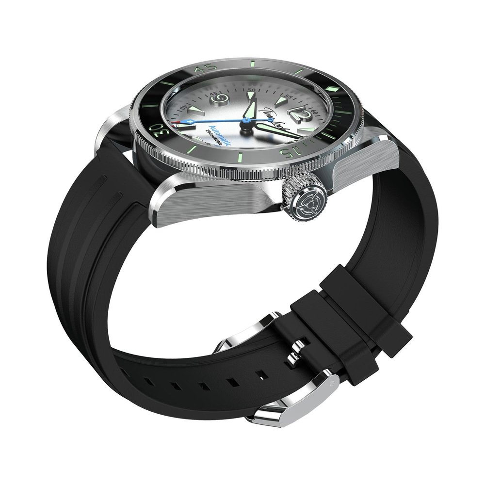 Time Locker dive watch Kermadec with white dial | rubber strap | side view