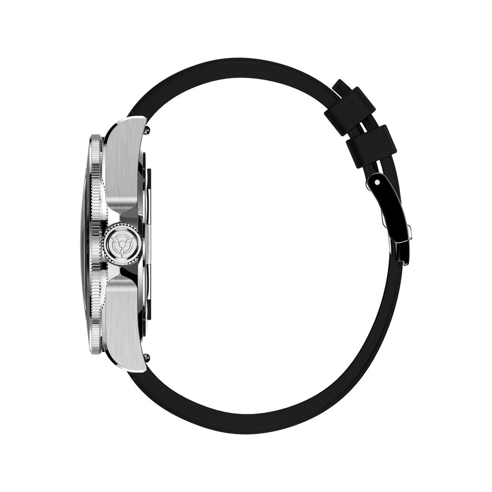 Time Locker dive watch Kouriles with black dial |rubber strap | profile view
