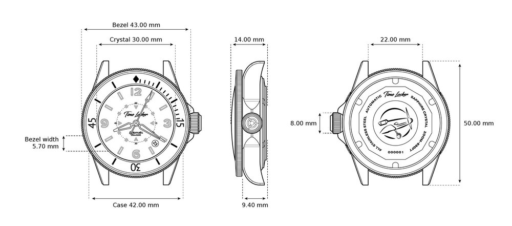 Time Locker diver watch technical drawings