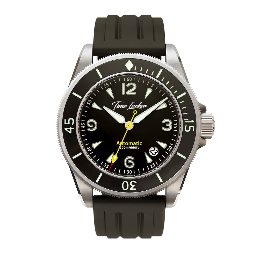 Diving watch Kermadec by Time Locker | black dial silicone strap