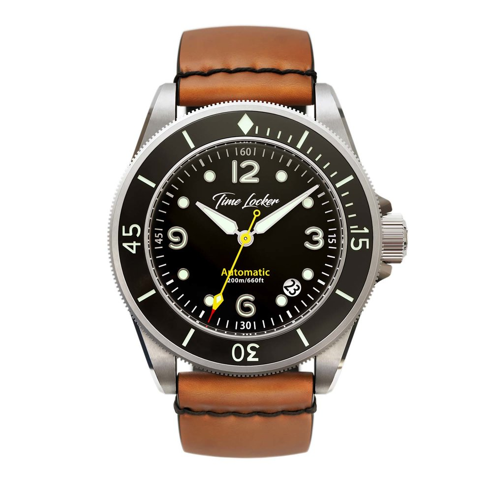 Diving watch Tonga by Time Locker | black dial leather strap
