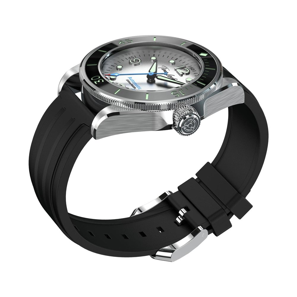 Time Locker dive watch Tonga with white dial | rubber strap | side view
