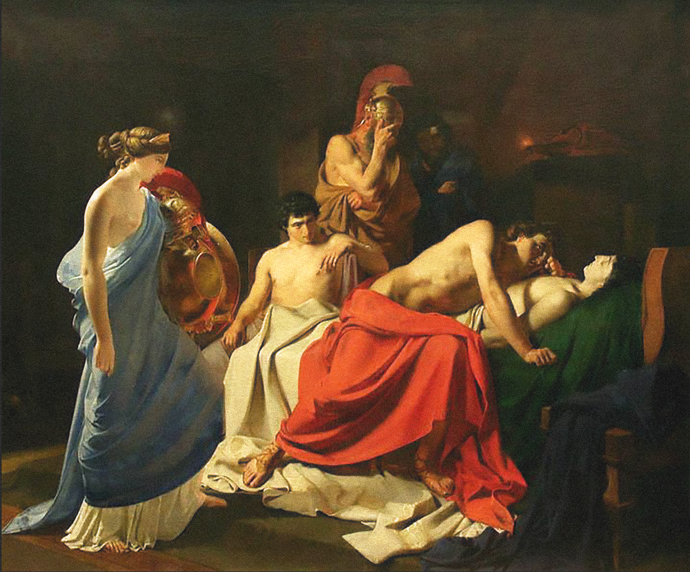 Achilles Lamenting the Death of Patroclus  (1855) by the Russian  realist   Nikolai Ge