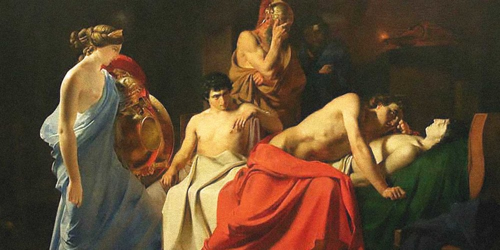 Photo: Achilles Lamenting the Death of Patroclus/ Nikolai Ge [Public domain], via Wikimedia Commons