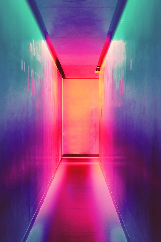 Iridescent lit room