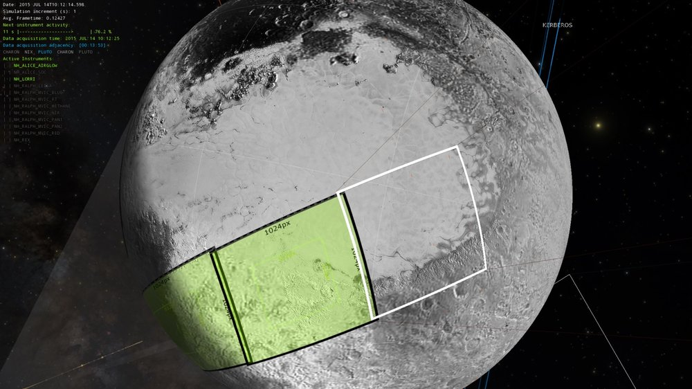 Pluto at beginning of projected image sequence