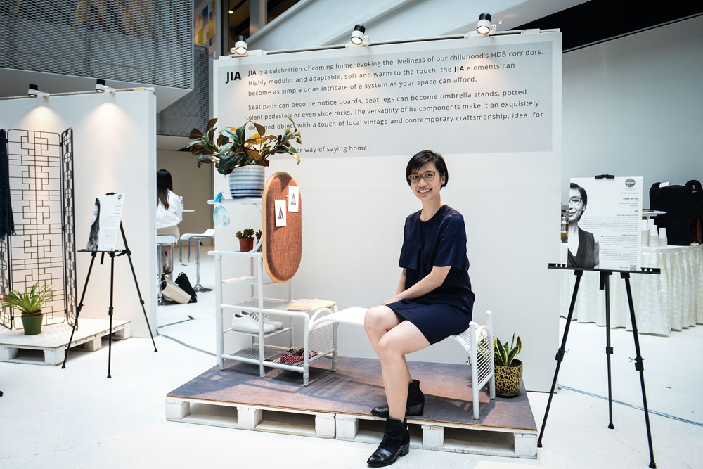 Jia Xin right after presenting to the jury at the  National Design Centre