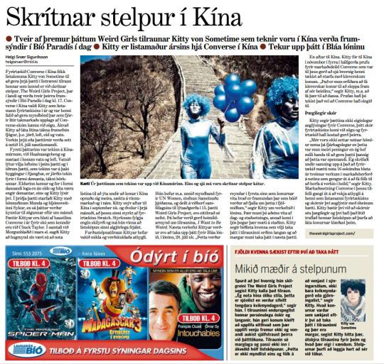 Article in Morgunblaðið newspaper