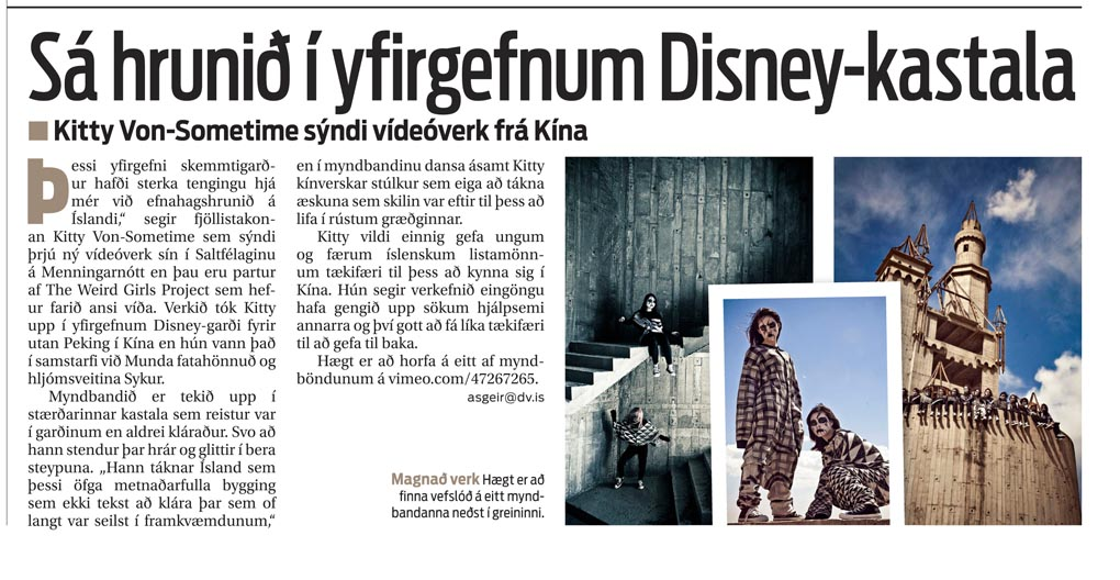 Article in DV newspaper, Iceland