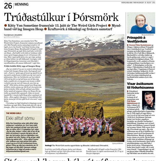 Morgunblaðið newspaper, Iceland, 10th August 2011
