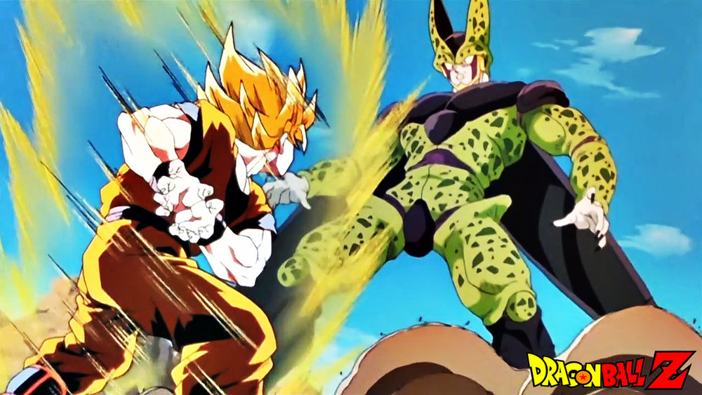 - Goku (On the left) moments from firing his devastating