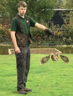 Lucas (Year 10) during his supported work placement at the Owl Sanctuary, Stonham Barns.