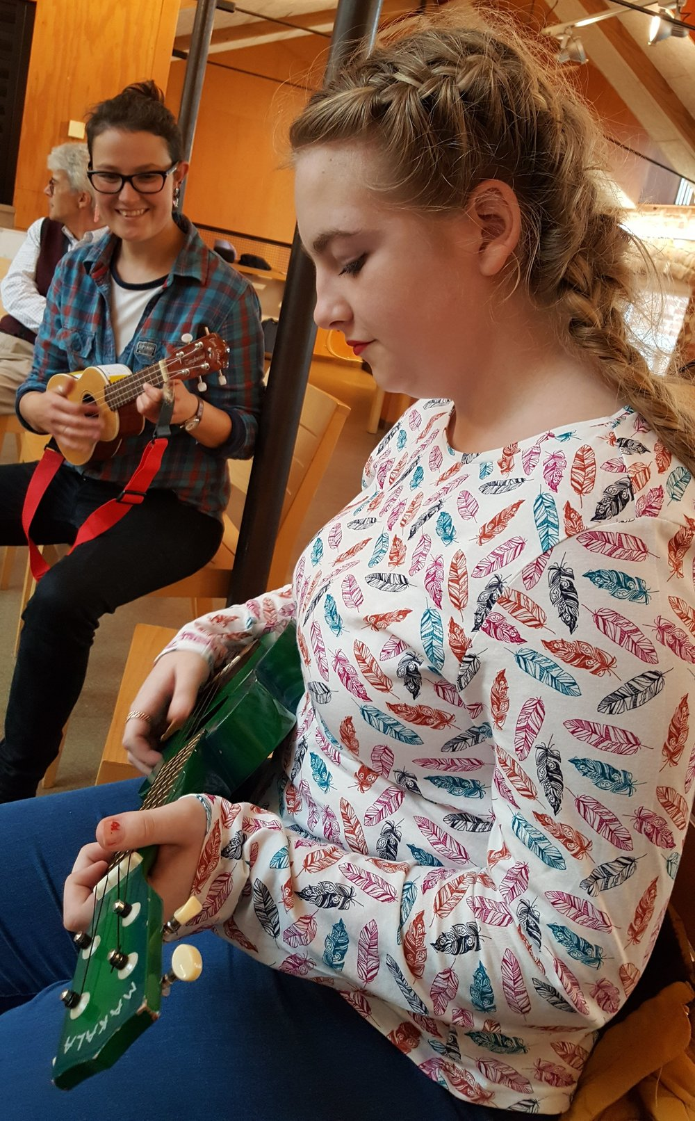 Saffy engaging through the 'Participate' music workshop at Snape Maltings.