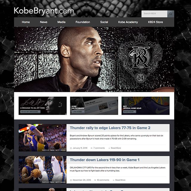 When Kobe (@kobebryant) approached my company in 2011, his official Facebook page had 316,000 Likes. In a span of two months, with a solid marketing campaign and more engagement with the fans from Kobe himself, we were able to build that up 13.5 Million (it's 20 Million+ now). We also relaunched his official website and online store, designing and developing a clean and fresh digital experience for the champ, as well as hiring our own beat writers to provide exclusive and up-to-date content for the fans. I had the unique experience of personally designing and developing everything in this project, applying Kobe's new branding, creating the logos for his foundation, building the new Kobe and Vanessa Bryant Family Foundation website with the team, and illustrating for Kobe's global tour apparel. Completed in 2012, the designs have stood the test of time.