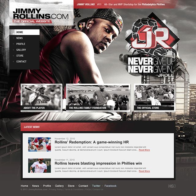 One of my very first athletes to work with, Jimmy Rollins (@jrollins11) approached me late 2010 to create his new logo, and in early 2011 to redesign his official player website, and foundation website. This former National League Most Valuable Player deserved the best, and the best is what he got.