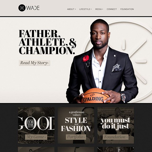 "I was a witness from the very start of @DwyaneWade's brand transformation into the Gentleman Assassin, in 2011. Working with W+K and HSThree Inc., together with my company, I extended his new ""Perfect Symmetry"" branding to his official website from pixel to code, created designs for his social media accounts and various products online and offline."