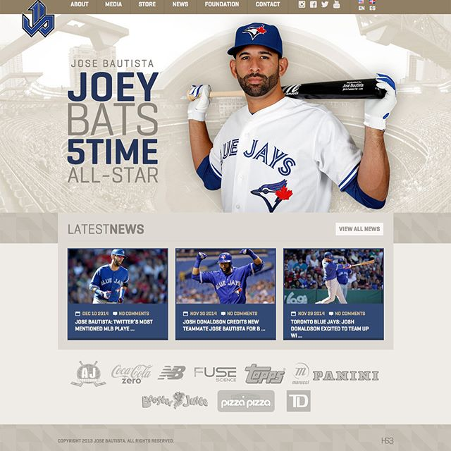 6 Time All-Star, José Bautista (@joeybats19), knew the right people to trust when he wanted a rebrand. In 2014, I designed and developed his official logo, player website, foundation logo and website, along with various designs for his charity events.