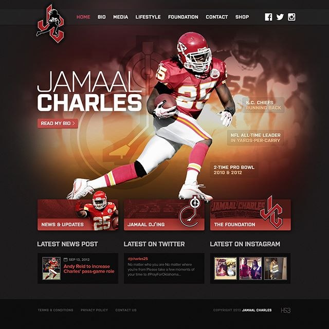 As Jamaal Charles (@djcharles25) continues to make and break records in the NFL, we're just glad to be there to experience greatness first hand. 2013 was a defining year for Charles, and he looked for his personal brand to evolve with his accomplishments. He chose my company, and we're always glad to help. A new logo was in order, along with a slick website, and a solid online presence, that reflected who he is as a person—a game changing player, a multi-talented entertainer, and a philantropist at heart.