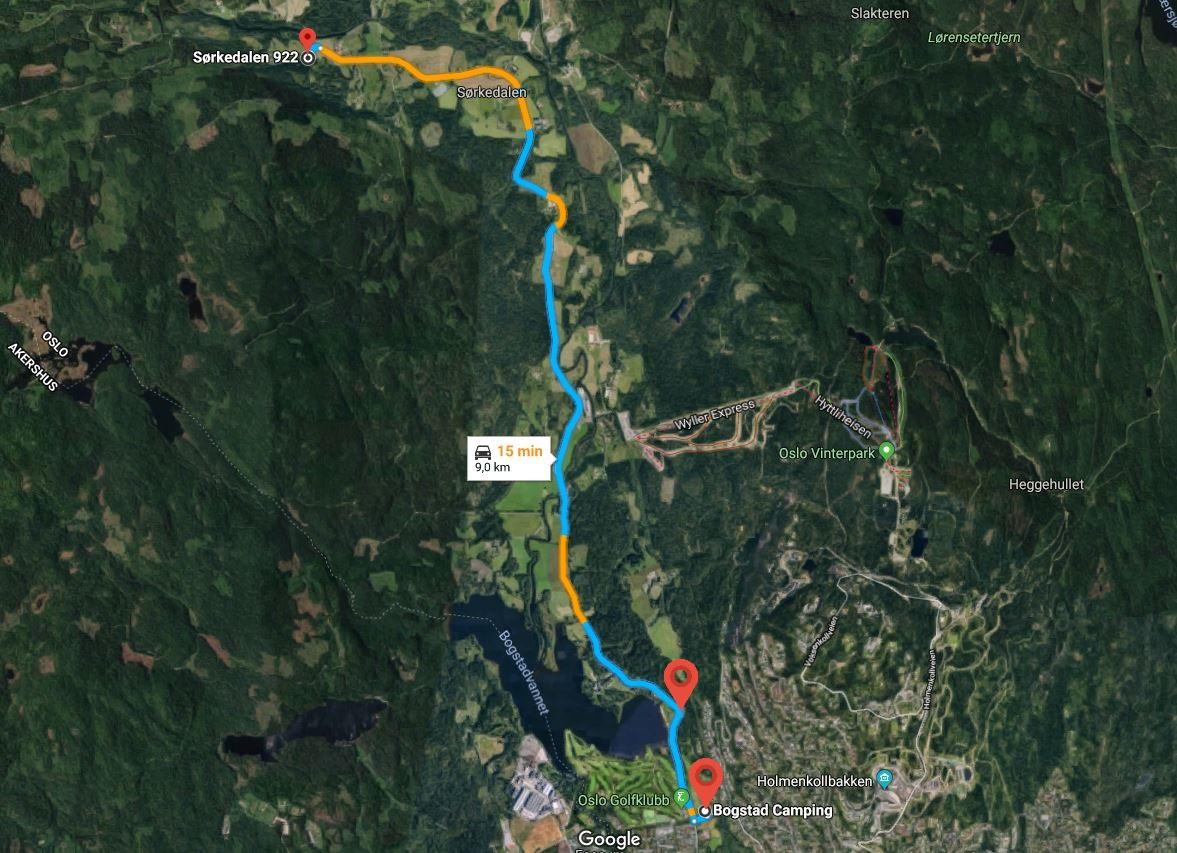 Markørene viser parkeringplassene Bogstad Camping og Badesvingen.