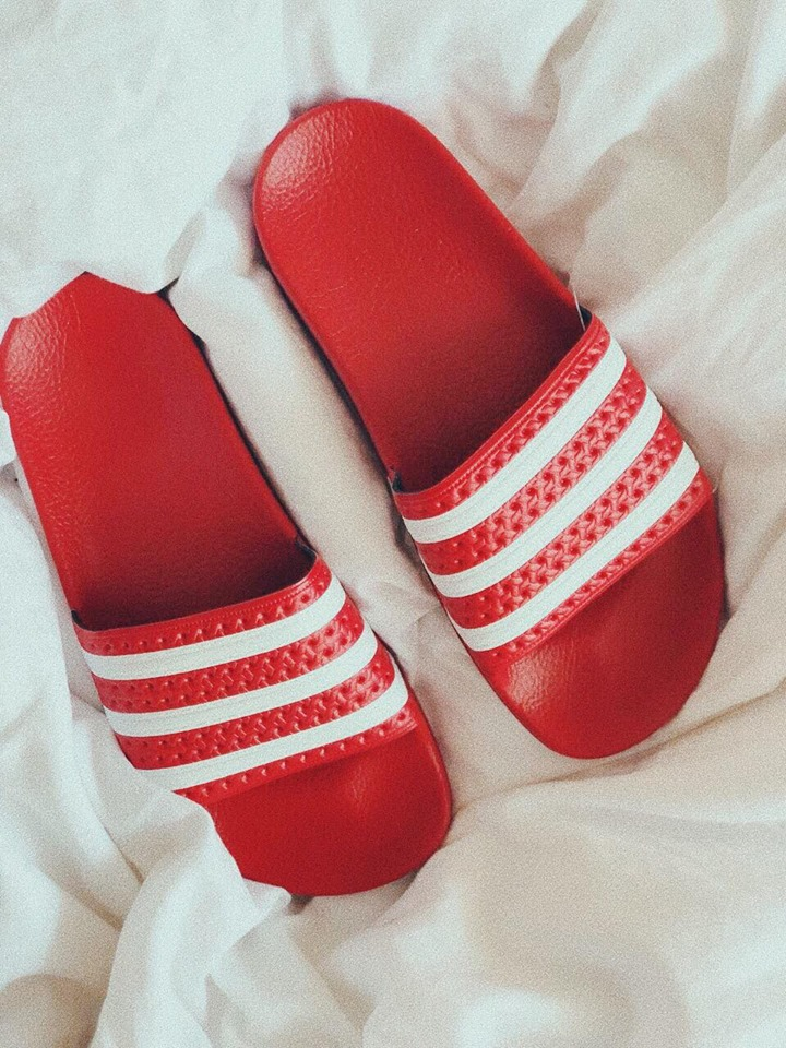 THE BEST LOW BUDGET   SLIDERS   IN THE GAME! I LOVE THE CLASSIC ADIDAS ONES, I WEAR THEM INDOORS AND OUTDOORS. PLUS RED IS MY FAV COLOR, SO THAT'S THAT. - J