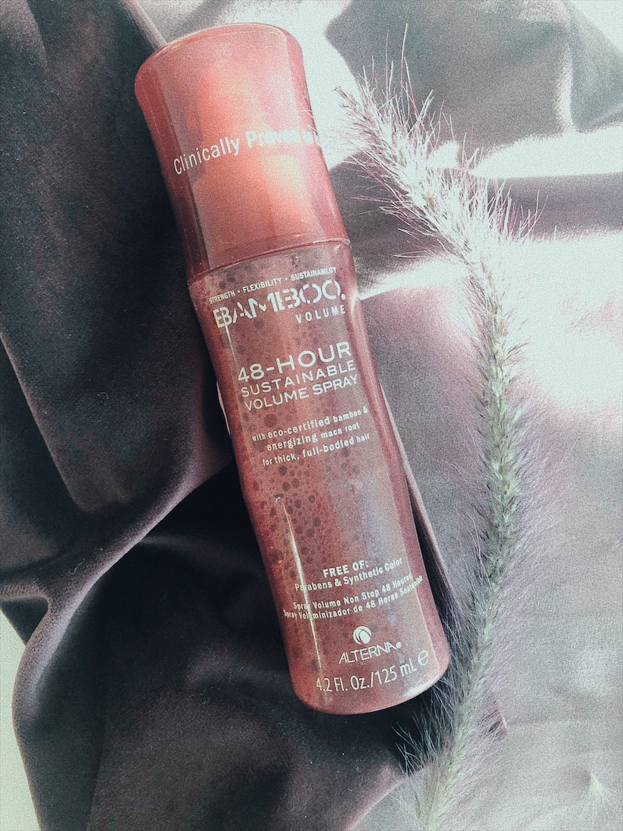 THE   48 HOURS STAINABLE VOLUME SPRAY   BY BAMBOO IS ANOTHER GO TO WHICH I SPLURGE ON BECAUSE I GOT THOSE BIG, BIG HAIR DREAMS. IF YOU APPLY IT (INTO ROOTS, NOT ONTO HAIR)CORRECTLY AND BLOW OUT YOUR HAIR NICELY, IT GIVES YOU REALLY 2 DAYS OF LOVELY HAIR. AND THE SCENT IS DIVINE. - T