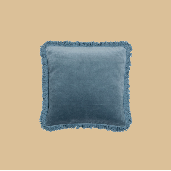 YOU NEED SOME FRINGES IN YOUR LIFE. I LOVE THIS   PILLOW CASE BY LIV INTERIOR    IN SOFT PIGEON BLUE MADE OUT OF VELVET. REMINDS ME OF SOHO HOUSE VIBES AND IT COMES IN LOTS OF DIFFERENT COLORS. -T