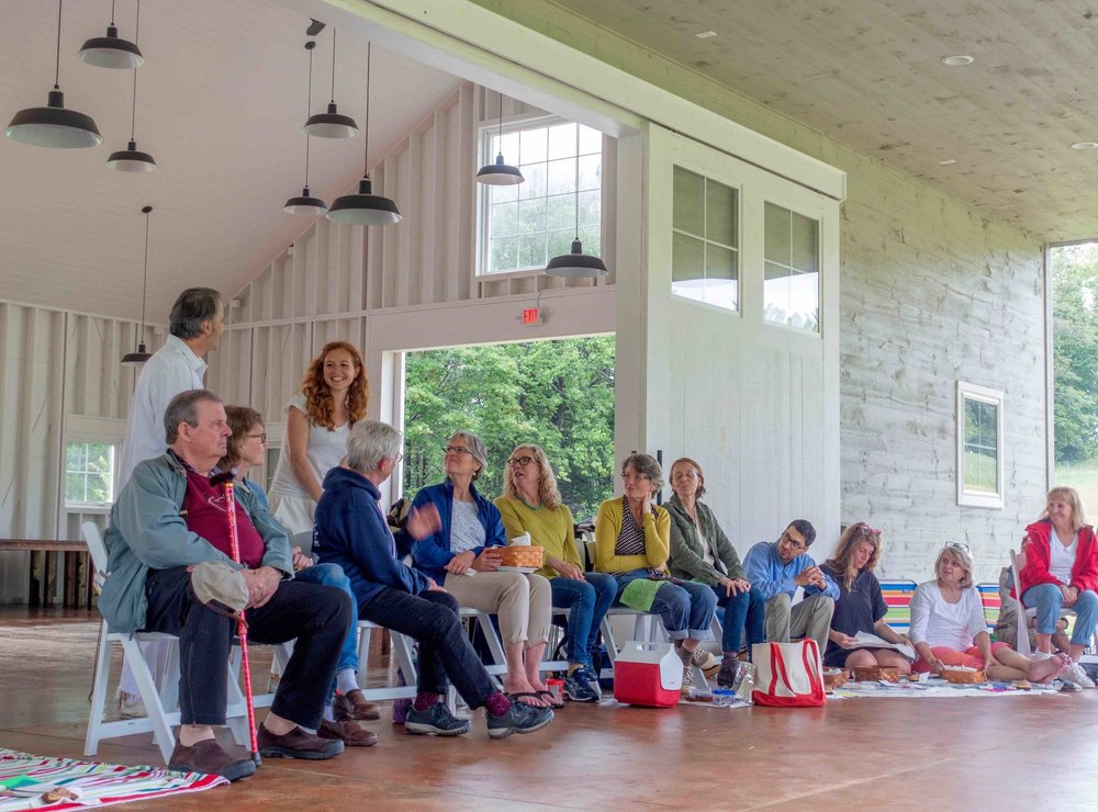 Firelight Founders Jason Lambert and Nora Fiffer at the conclusion of the first episode of  We Were Friends  performed at Mayfair Farm in Harrisville.