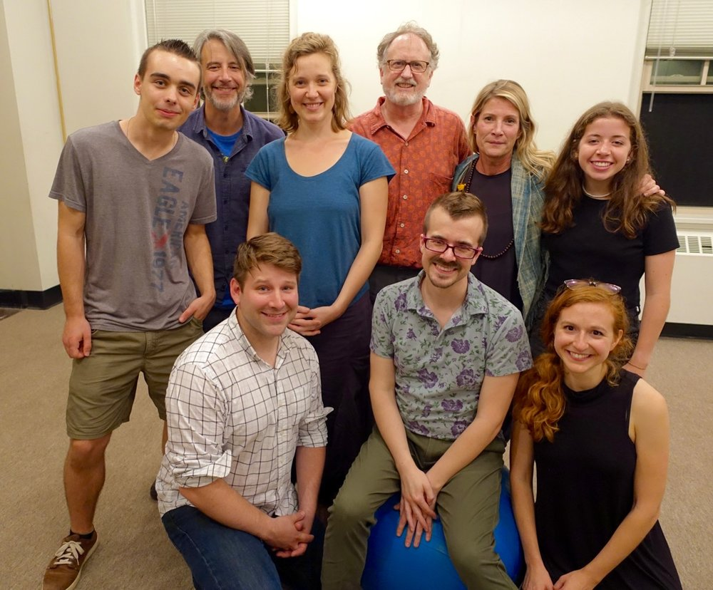 Circle Mirror Transformation  reading cast & crew (clockwise from left: Braeden Hatfield, Jason Lambert, Jazimina MacNeil, Rob Eichler, Sarah Sandback, Reagan Riffle, Nora Fiffer, Chance Lee, Will Howell)