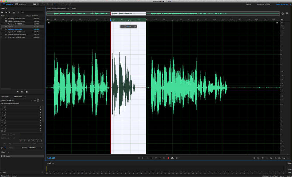 Basic editing of an audio file in Adobe Audition