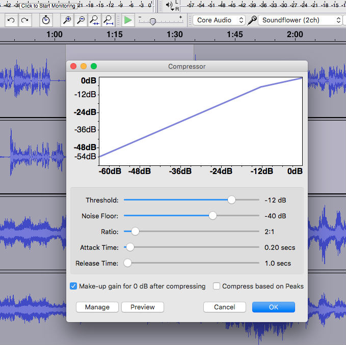 Using the compressor in Audacity