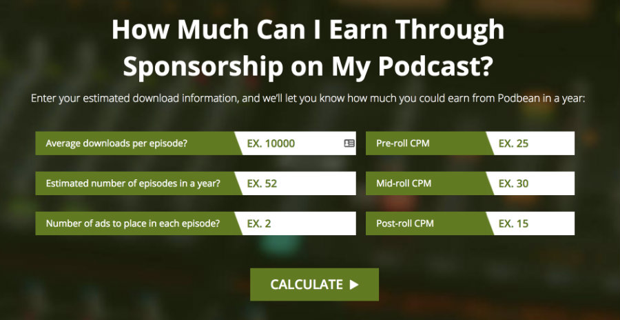 Podbean offers its own platform for pre-roll, mid-roll, and post-roll ads.