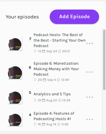 a list of episodes from the Pro Voice Guy Podcast