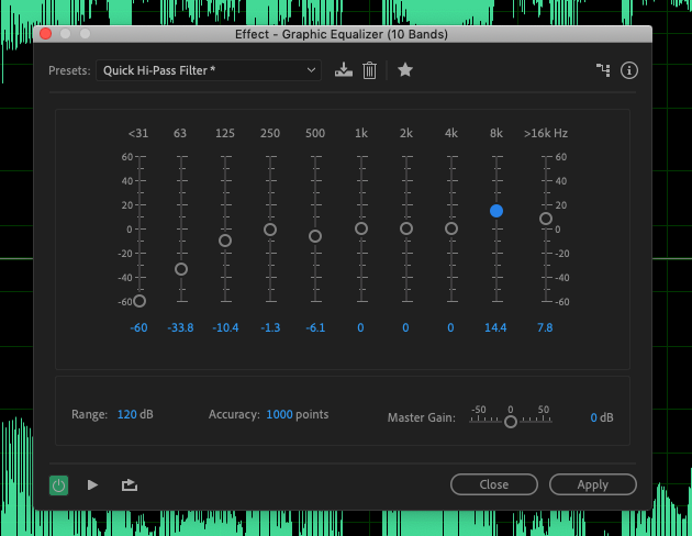 The ten band graphic EQ in Adobe Audition