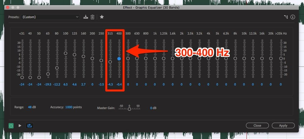 When using EQ for a podcast, try some reductions between 300 and 400 Hz to reduce muddiness.