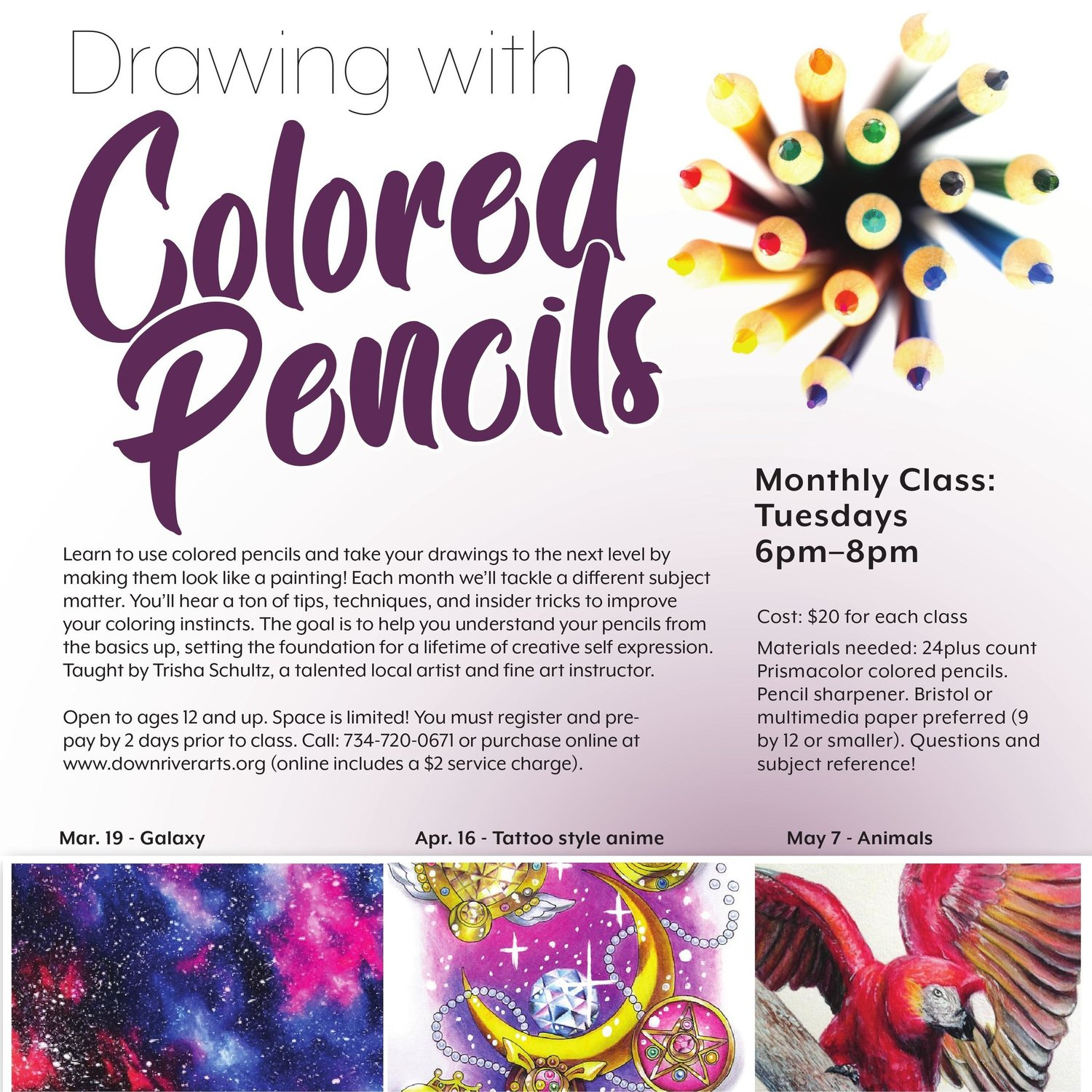 Drawing With Colored Pencils Downriver Council For The Arts