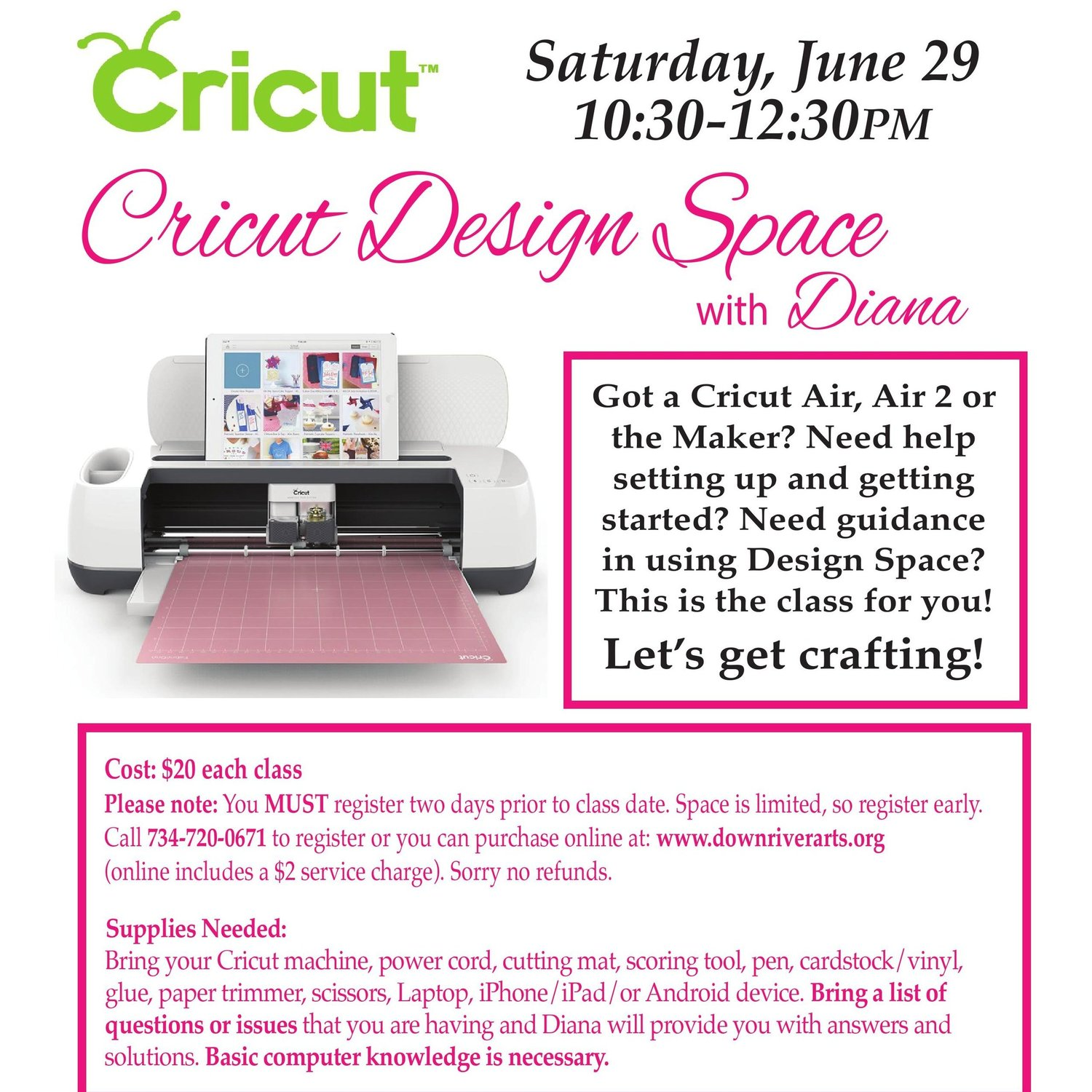 Cricut Classes with Cricut Design Space-06/29/19 — Downriver Council