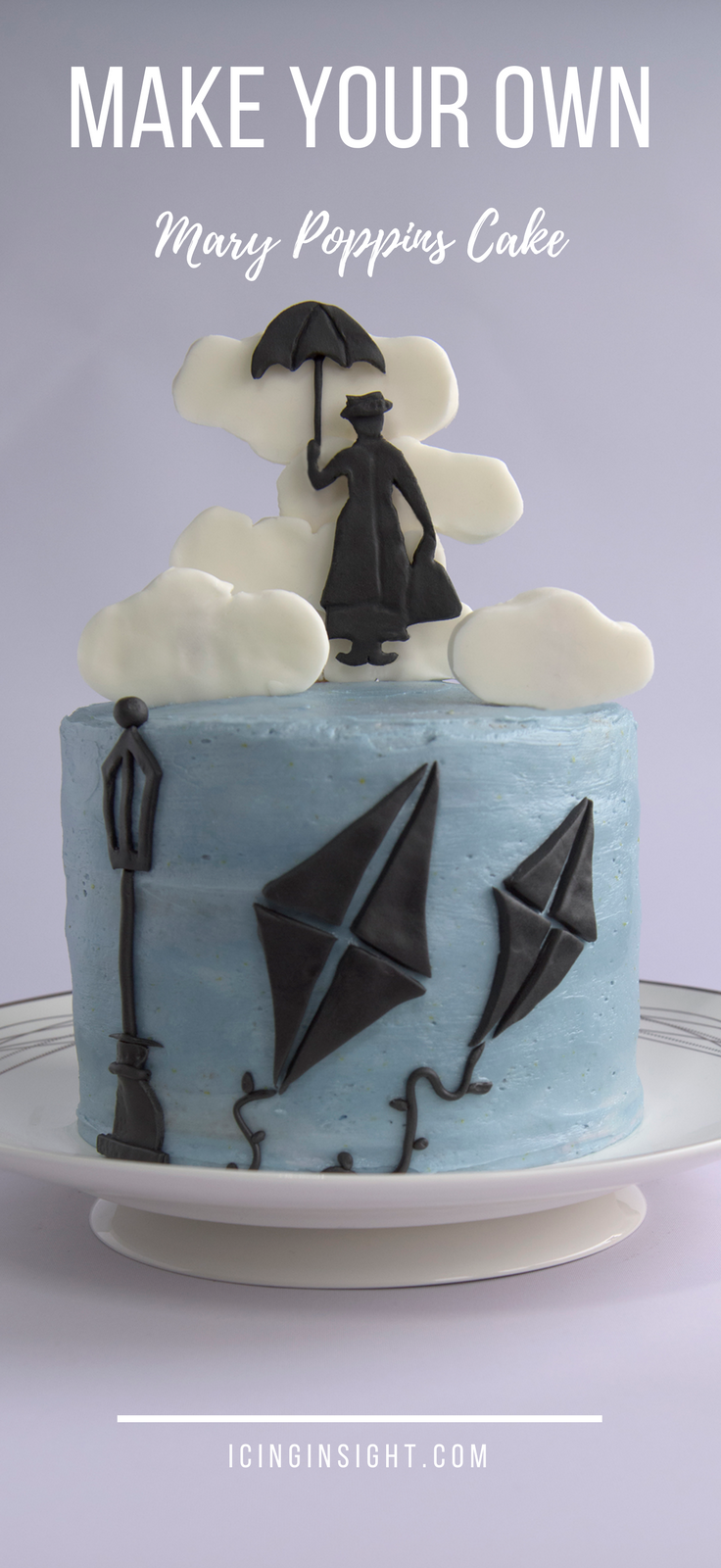 How To Make A Super Mary Poppins Cake with a fondant cake topper, edible clouds and honey, lemon sponge inside
