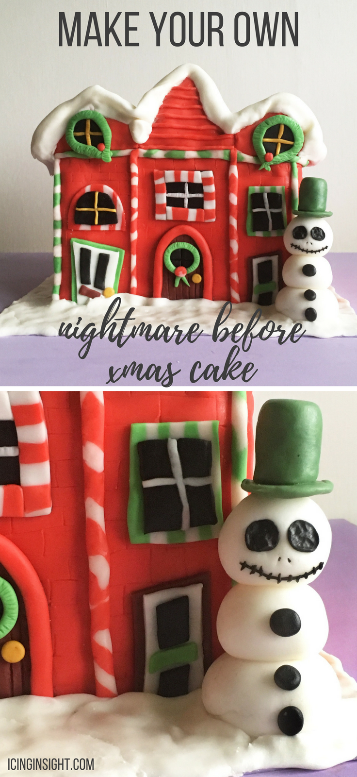 How to make a gorgeous Christmas Town cake from The Nightmare Before Christmas. Tutorial with step by step instructions and edible Jack Skellington Snowman