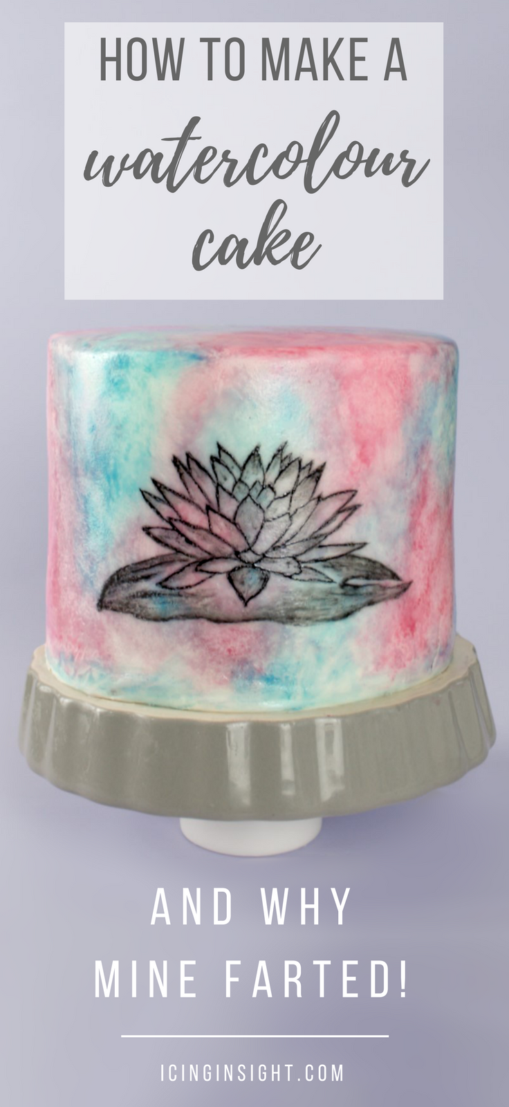 How to make a watercolour cake with a little fondant and food colouring. Step by step cake decorating tutorial