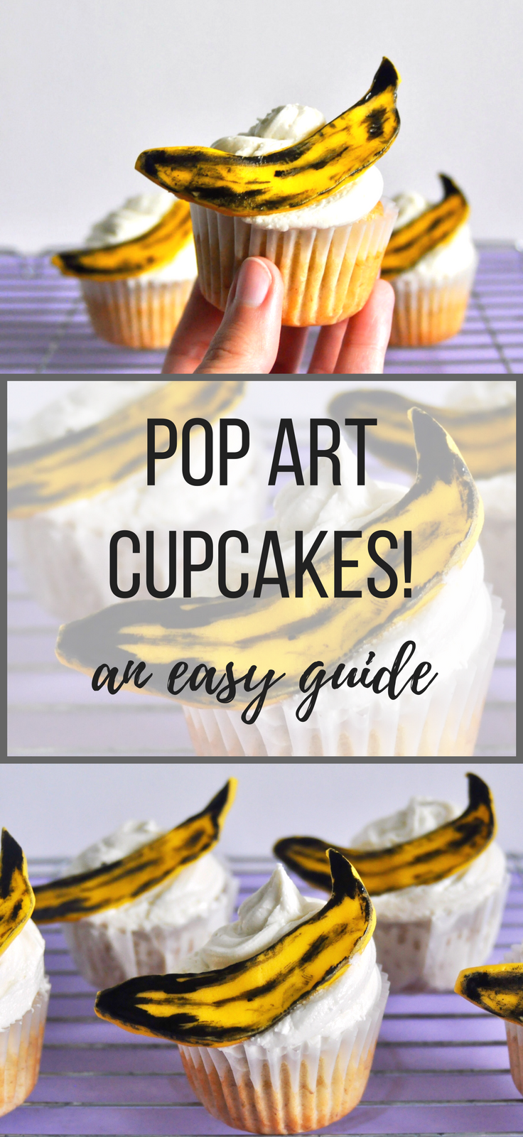 Cupcakes inspired by the genius Andy Warhol, get your pop art on with this banana cupcake recipe and seriously cute fondant toppers