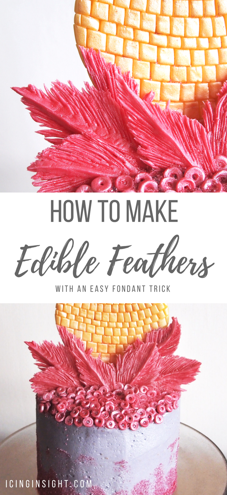 How to make edible feathers for cakes and cupcake toppers. A crazy easy fondant tutorial for beginners awaits, all you need is a knife