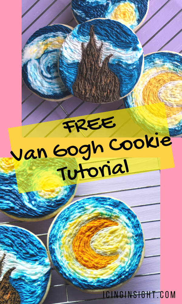 How to make Van Gogh inspired iced cookies with a super easy technique, full of texture