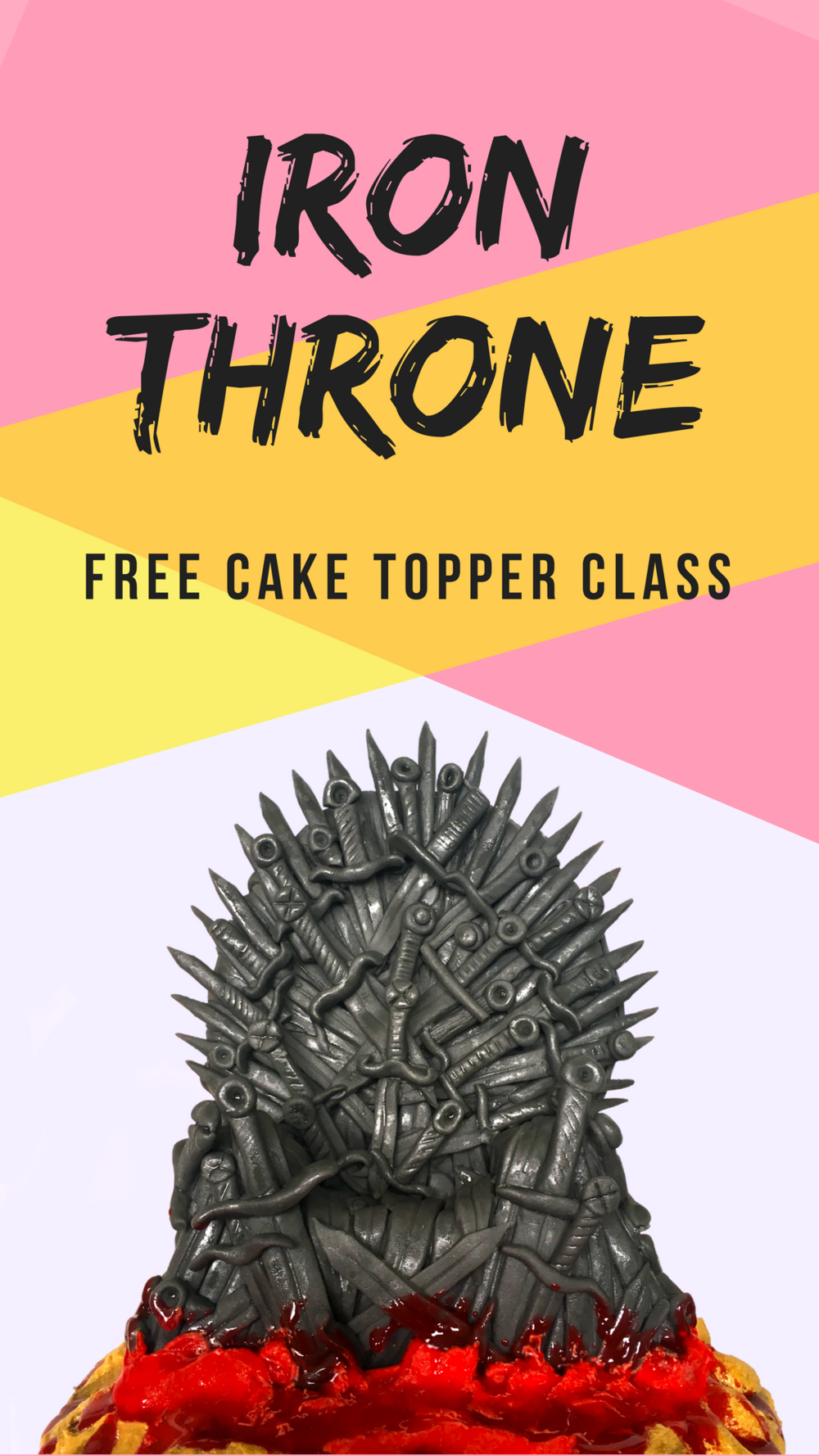 Iron Throne Cake Topper Tutorial, completely edible made from krispie treats and fondant. Perfect for all Game of Thrones fans needing a fix before season 8 starts