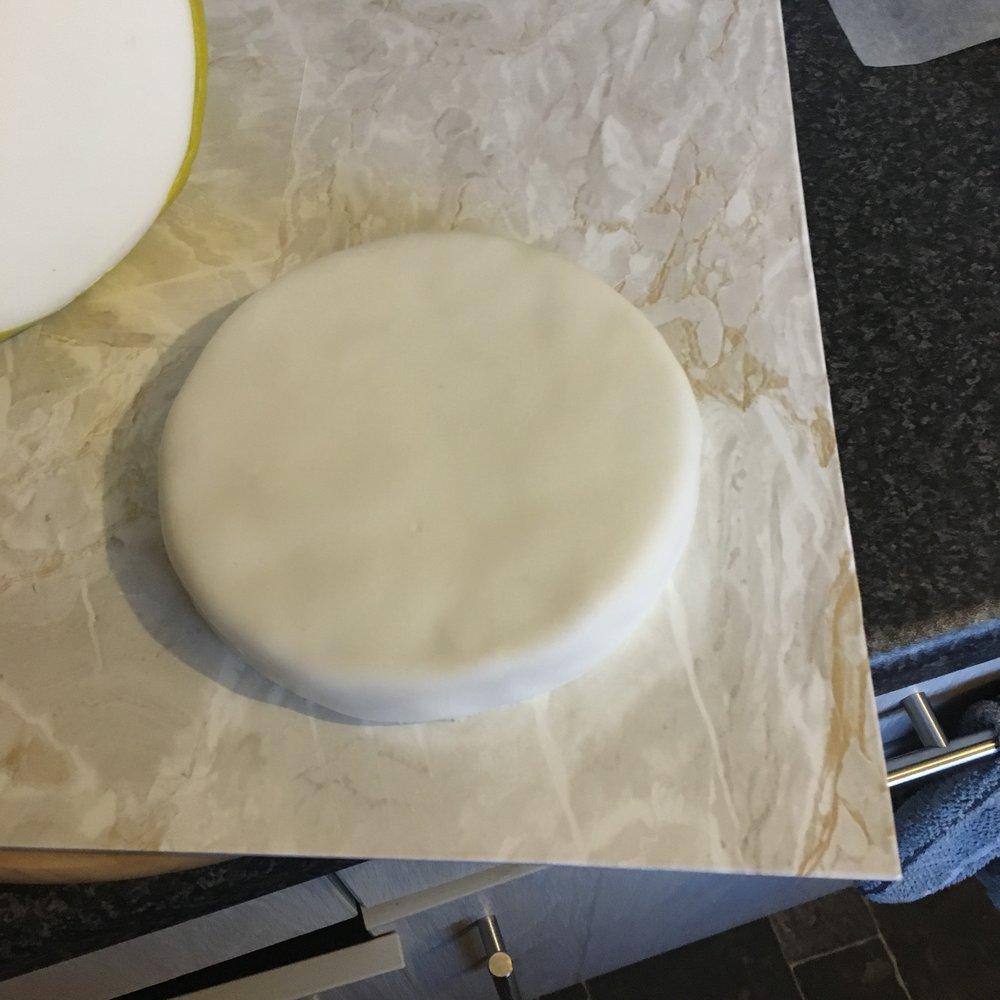 small white fondant cake