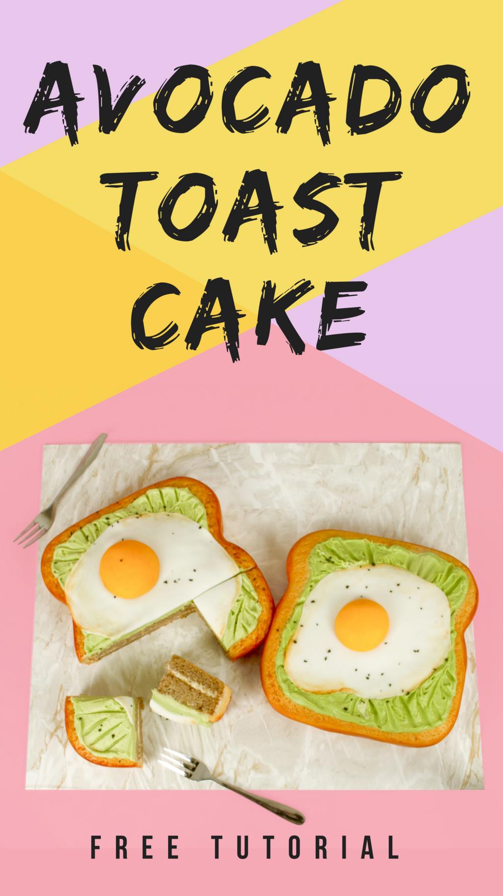Avocado Toast Cake with fondant fried eggs - free tutorial