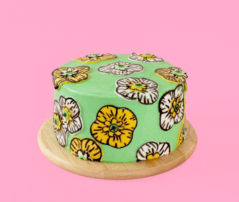 Super Cute Yellow Poppy Art Cake