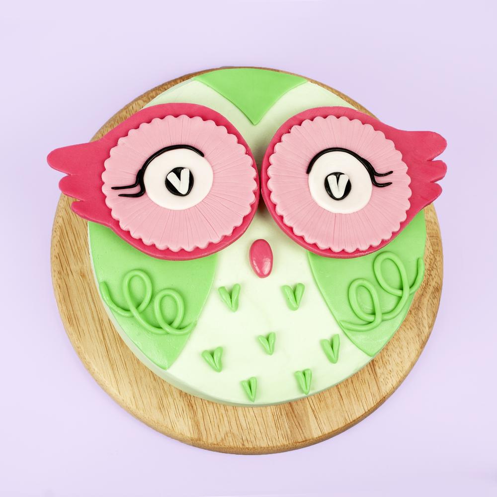 DIY Cute Green Owl Cake