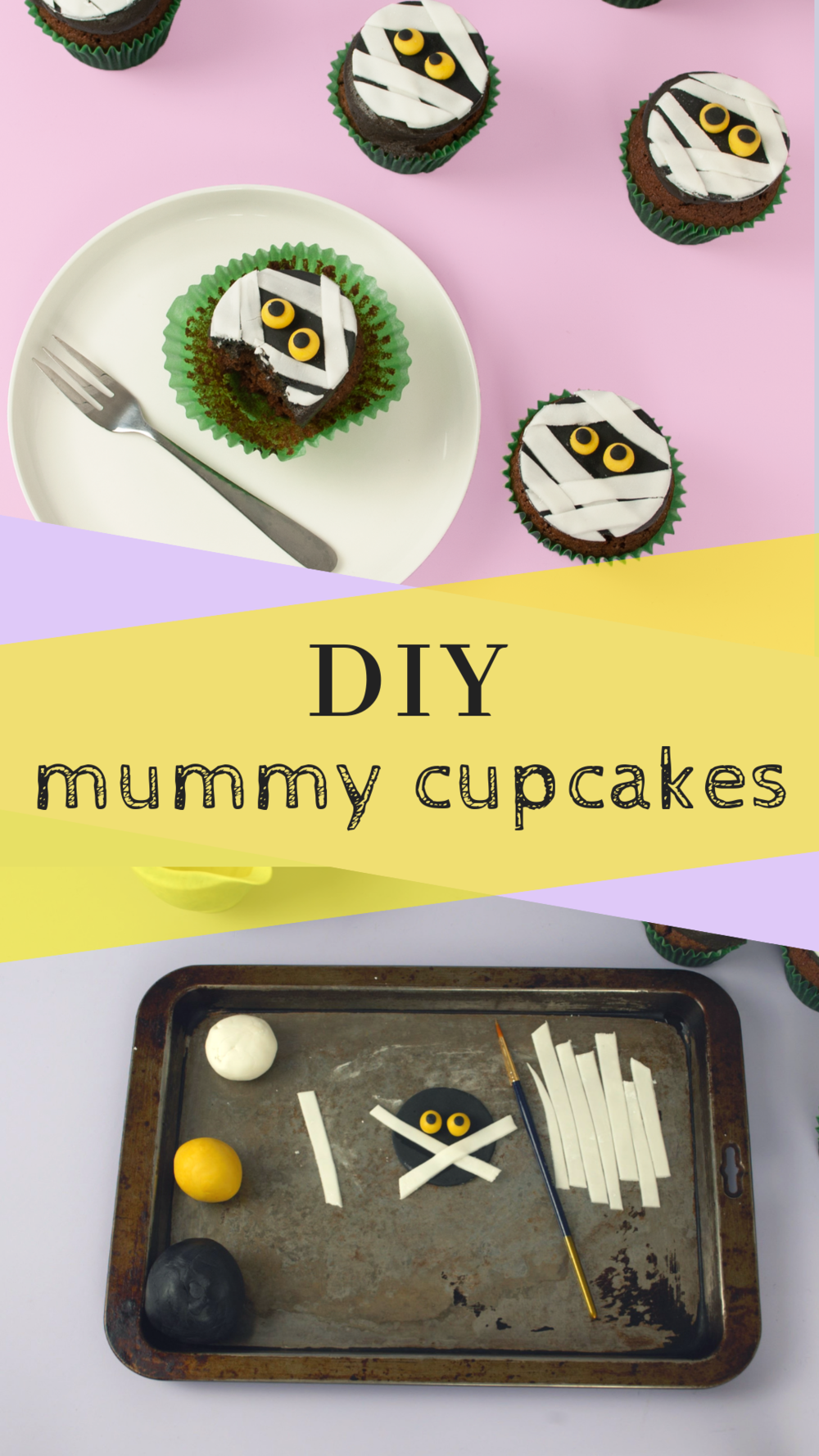 Super easy DIY Mummy cupcakes for Halloween.png