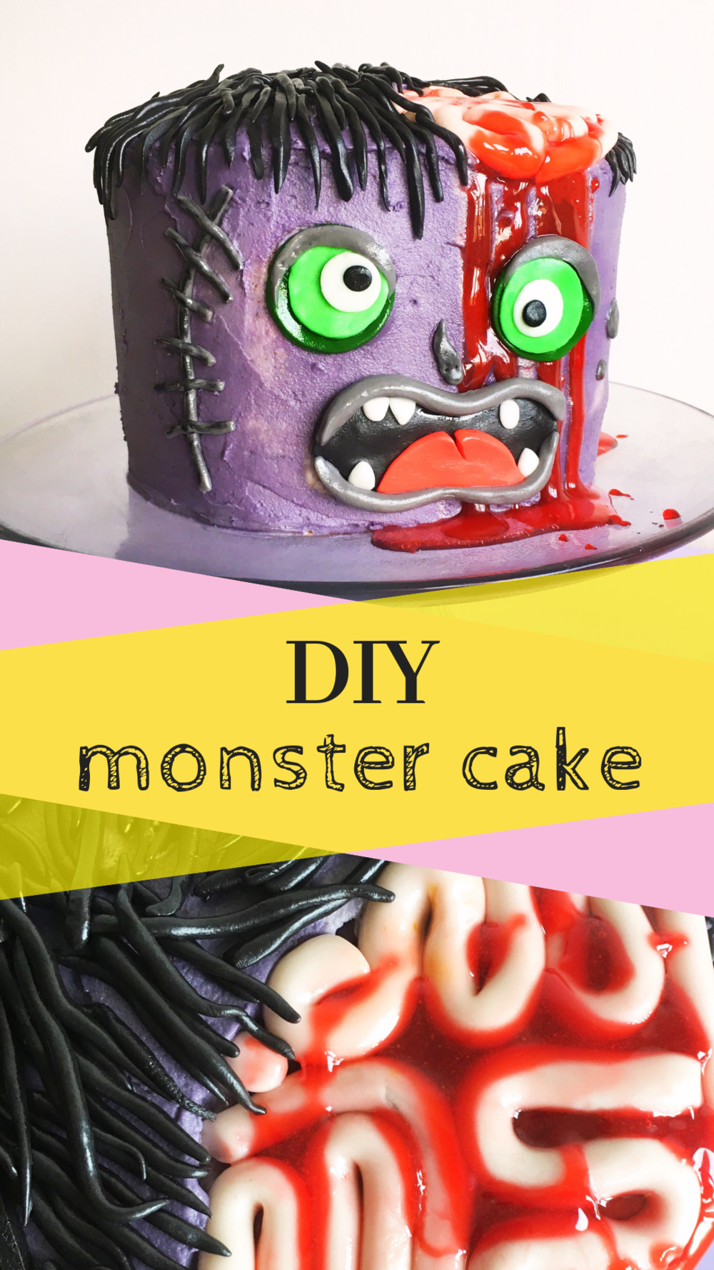 Easy DIY Purple Monster Cake with fondant brains.png